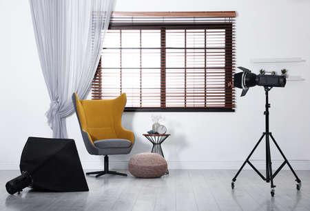 Professional photo studio equipment prepared for shooting room interior Zdjęcie Seryjne