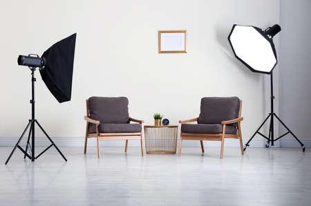 Professional photo studio equipment prepared for shooting living room interior Zdjęcie Seryjne