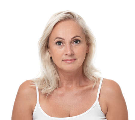 Portrait of beautiful mature woman with perfect skin on white background Stock Photo