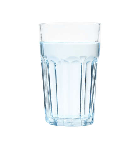 Glass of water on blue background, space for text. Refreshing drink