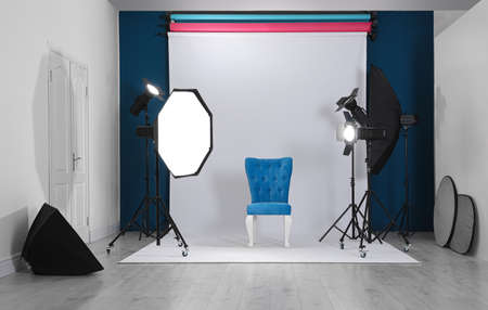 Photo studio interior with set of professional equipment Stok Fotoğraf - 129707774