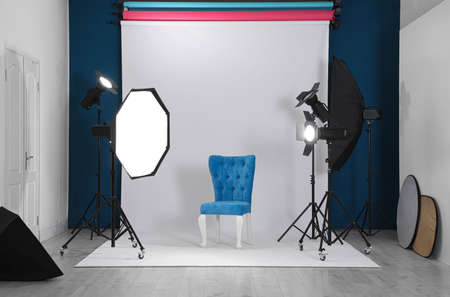 Photo studio interior with set of professional equipment Stok Fotoğraf - 129707792