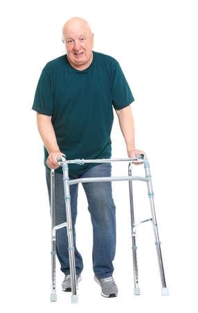 Elderly man with walking frame on white background. Medical help Imagens