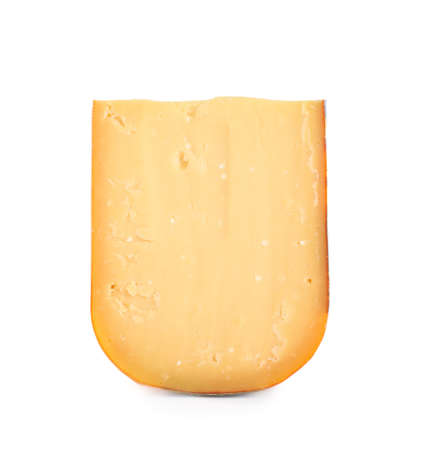 Piece of tasty cheddar cheese isolated on white