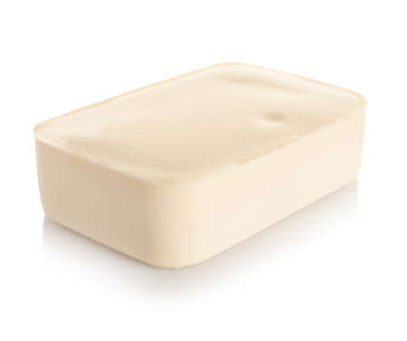 Tasty creamy feta cheese on white background 写真素材 - 129531666
