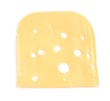 Slice of tasty maasdam cheese on white background, top view 写真素材 - 129531862