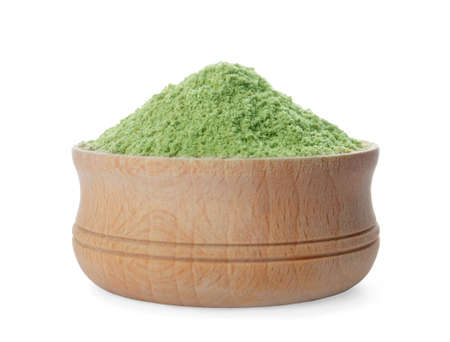 Bowl with wheat grass powder on white background 写真素材 - 129532282