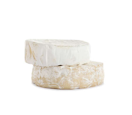Tasty camembert and brie cheeses isolated on white