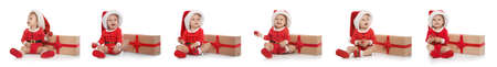 Set of cute little baby in Christmas costume and gift on white background. Banner design Фото со стока - 129913908
