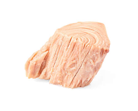 Piece of canned tuna on white background