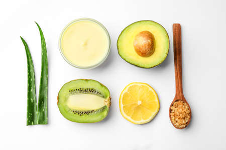 Composition with ingredients for handmade face mask on white background, top view
