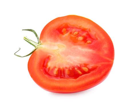 Half of fresh ripe red tomato on white background 写真素材 - 129531893