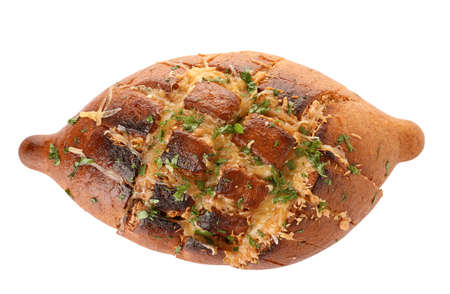 Delicious homemade garlic bread with herbs and cheese on white background 写真素材 - 129531907