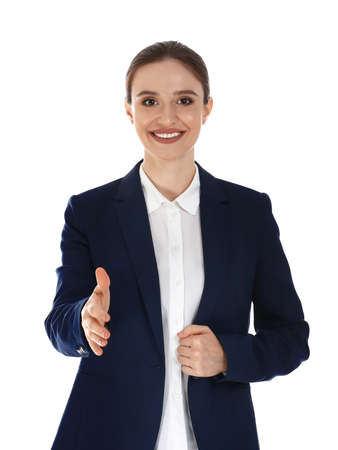 Professional business trainer reaching for handshake on white background 写真素材