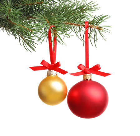 Christmas balls hanging on fir tree branch against white background Stock Photo