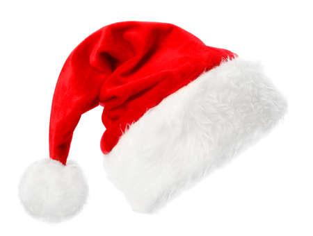 Roter Weihnachtsmannhut auf weißem Hintergrund