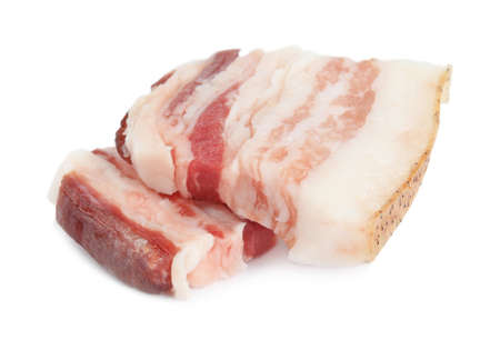 Slices of tasty bacon isolated on white Imagens