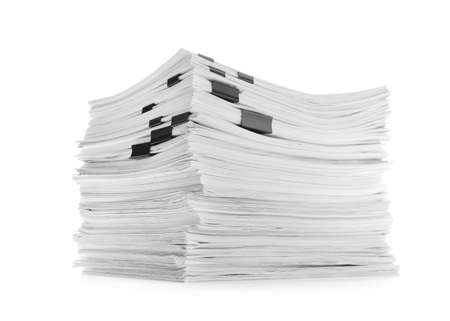 Stack of documents with black clips on white background