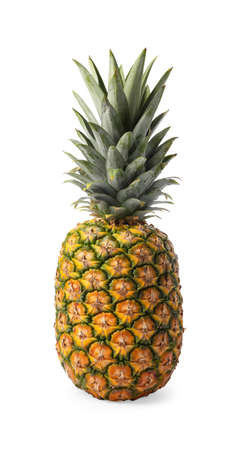 Tasty whole pineapple with leaves on white background Фото со стока
