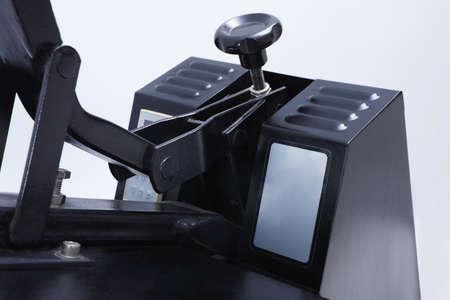 Heat press machine on light background, closeup view Stock Photo