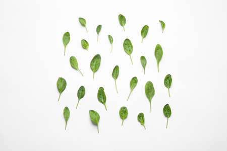 Fresh green healthy spinach on white background, top view Stock Photo