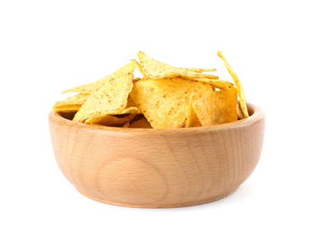 Wooden bowl with tasty Mexican nachos chips on white background
