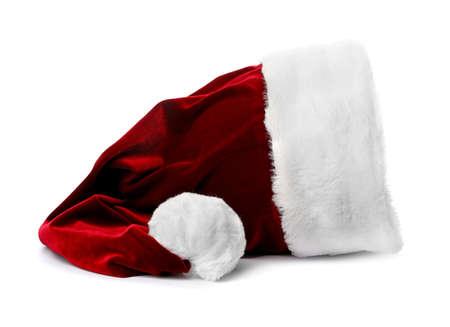 Dark red Santa Claus hat on white background Stockfoto