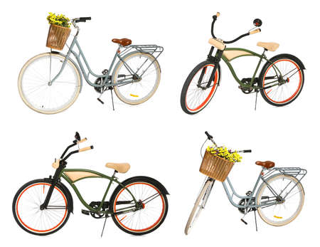 Collage of different bicycles on white background