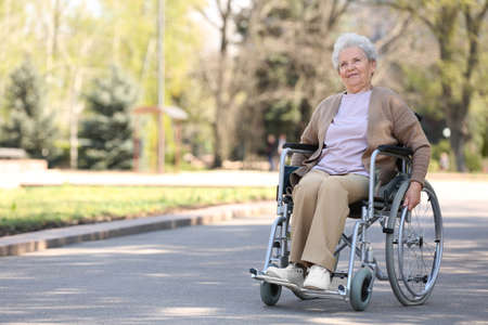 Senior woman in wheelchair at park on sunny day