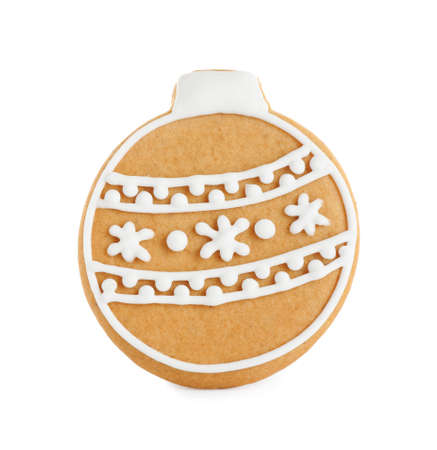 Tasty homemade Christmas cookie on white background