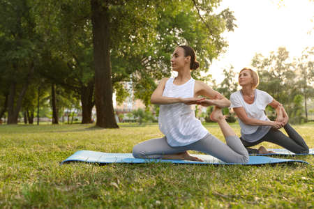 Women practicing yoga in park at morning, space for text Stockfoto