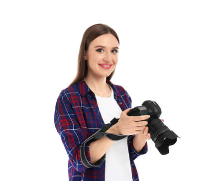 Professional photographer with modern camera on white background