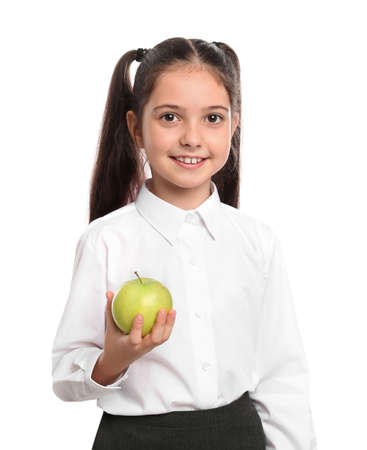 Little girl holding apple on white background. Healthy food for school lunch