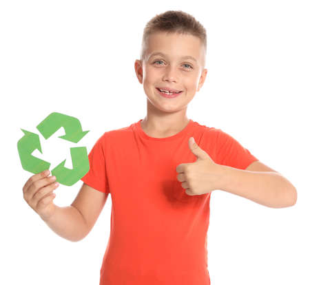 Boy with recycling symbol on white background
