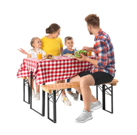Happy family having picnic at table on white background