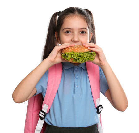 Little girl eating burger on white background. Healthy food for school lunch Stock Photo