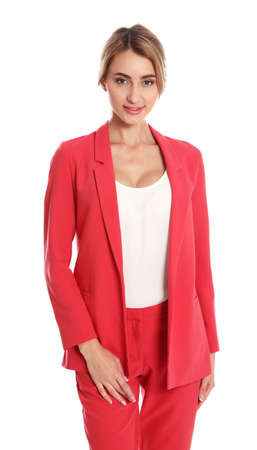 Beautiful young woman in red suit posing on white background Stock Photo