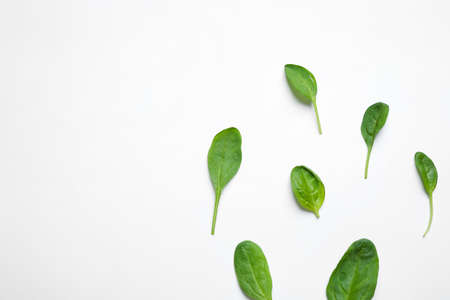 Fresh green healthy spinach on white background, top view Stok Fotoğraf