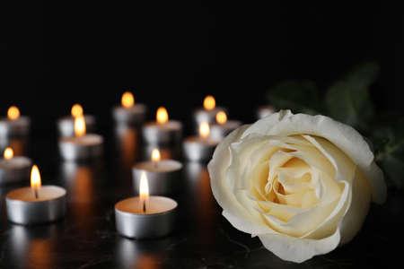 Weiße Rose und verschwommene brennende Kerzen auf dem Tisch in der Dunkelheit, Nahaufnahme mit Platz für Text. Begräbnissymbol