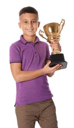 Happy boy with golden winning cup on white background Archivio Fotografico - 129712276