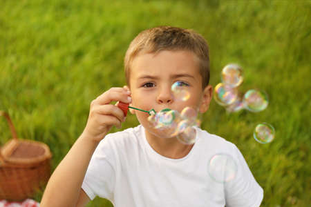 Little boy with soap bubbles in park. Summer picnic