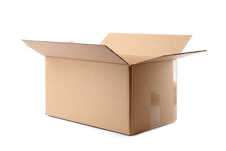 Open cardboard box on white background. Mockup for design Stok Fotoğraf