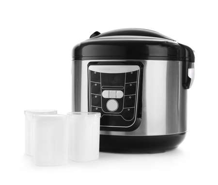 Modern multi cooker with cups for yogurt isolated on white