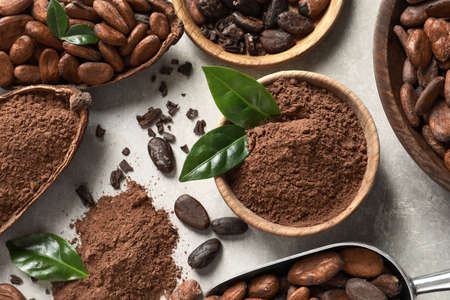 Cocoa pods, beans and powder on light table, flat lay