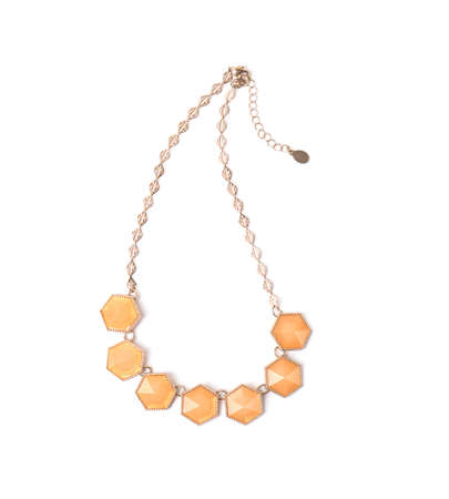Elegant gold necklace with beautiful gems on white background, top view