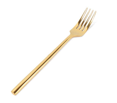 Stylish clean gold fork on white background