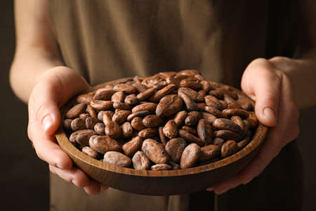 Woman holding wooden bowl of cocoa beans, closeup view Stock Photo