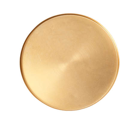 Shiny stylish gold tray on white background, top view Фото со стока