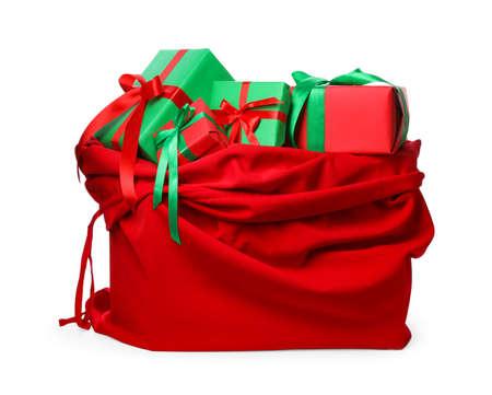 Santa bag full of presents isolated on white
