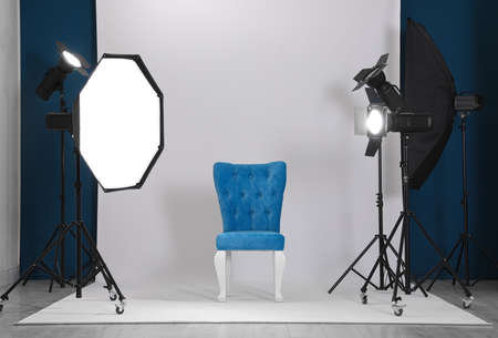 Photo studio interior with set of professional equipment Stok Fotoğraf - 129796773